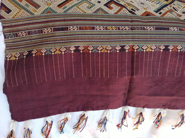Insane Lao Sind wide weaving, silk, elegant burgandy and gold