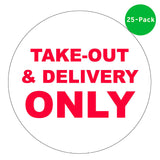 "12"" Round Take Out Window Cling - 5 Pack"