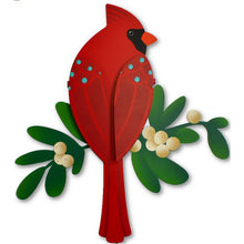 Load image into Gallery viewer, Cardinal w/ Mistletoe Dimensional Magnetic Wall Art