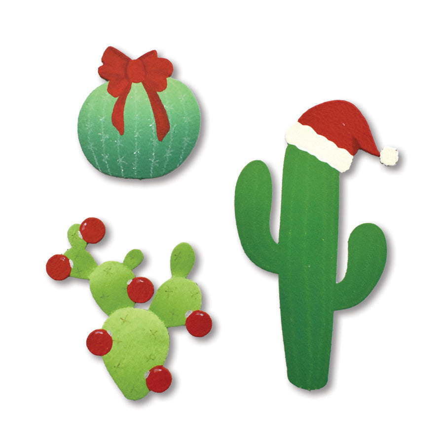 Christmas Cacti Magnets S/3
