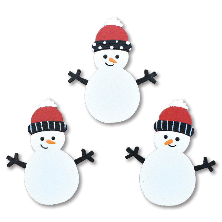 Snowmen with Stocking Cap Magnets