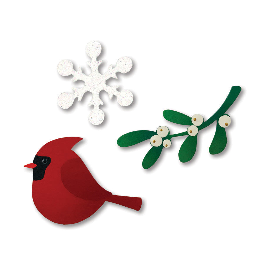 Cardinal w/ Mistletoe Magnets S/3
