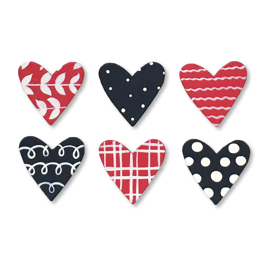 Hearts w/ Patterns Magnets | Set of 6