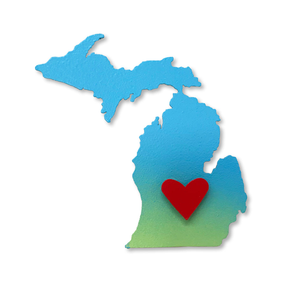 Michigan w/ Moveable Heart Magnet S/2 Blue Ombre