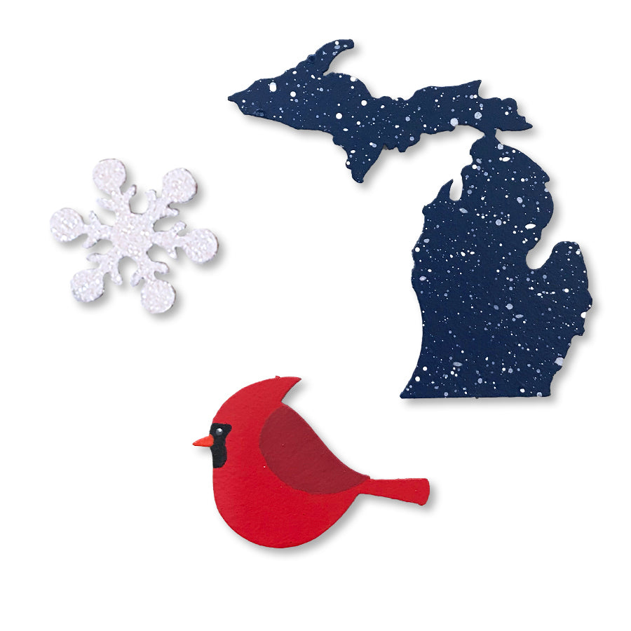 Michigan Icons w/ Snow Magnets S/3