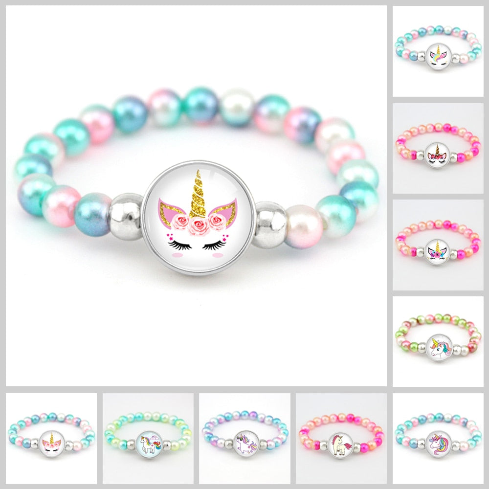 Unicorn Beads Bracelets 18mm Snap Holder Buttons Dome Cabochon Flamingos Charms Trendy Bracelets Girls Women Boy Jewelry Gift