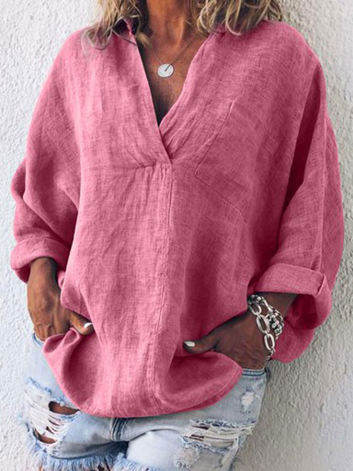 Solid color Women V Neck Thin Summer Linen Plus Size Casual Long Sleeve T-shirt