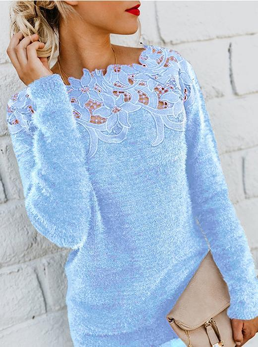 V-neck lace splicing irregular mid-length sweater