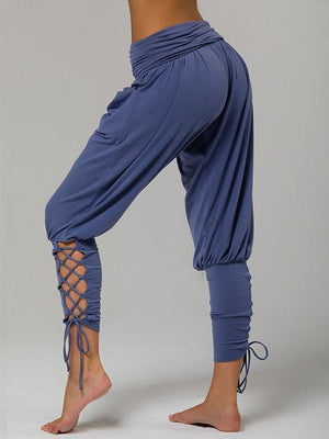 High Waist Hollow Out and Cross Tied Jogger Pant