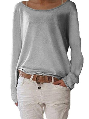 Solid color top shirt knit long sleeve T-shirt
