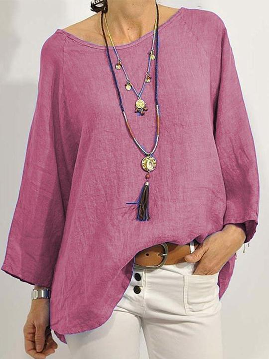 Solid color round neck loose large size long sleeve shirt cotton and linen T-shirt