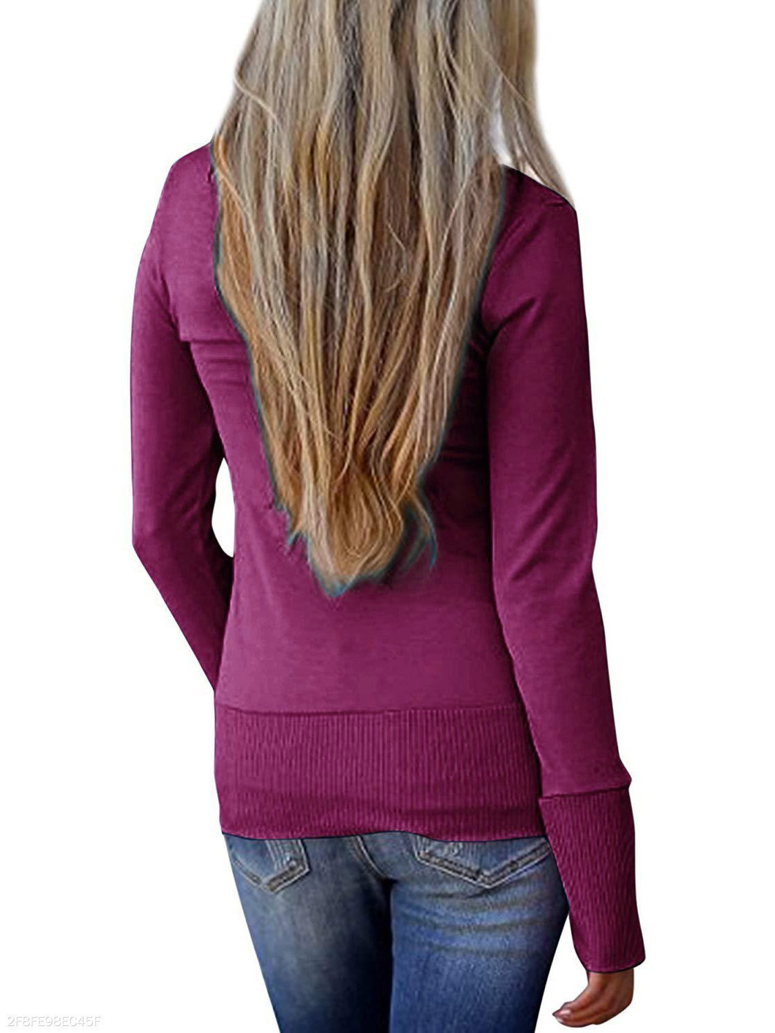 Long Sleeved V Neck Sweater In Solid Color