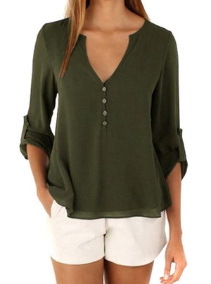 Temperament V-neck loose large size chiffon long sleeve blouses