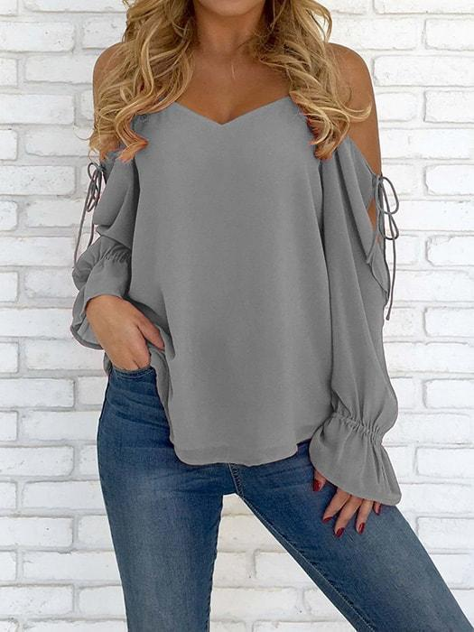 Strapless off-the-shoulder chiffon t-shirt