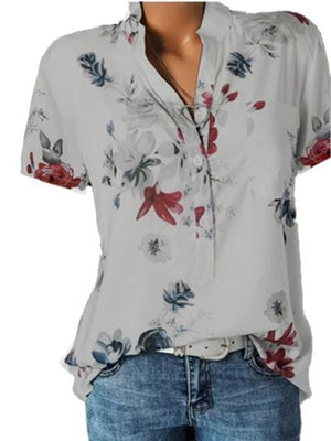 Stand Collar Short Sleeve Flower Print Loose Blouses