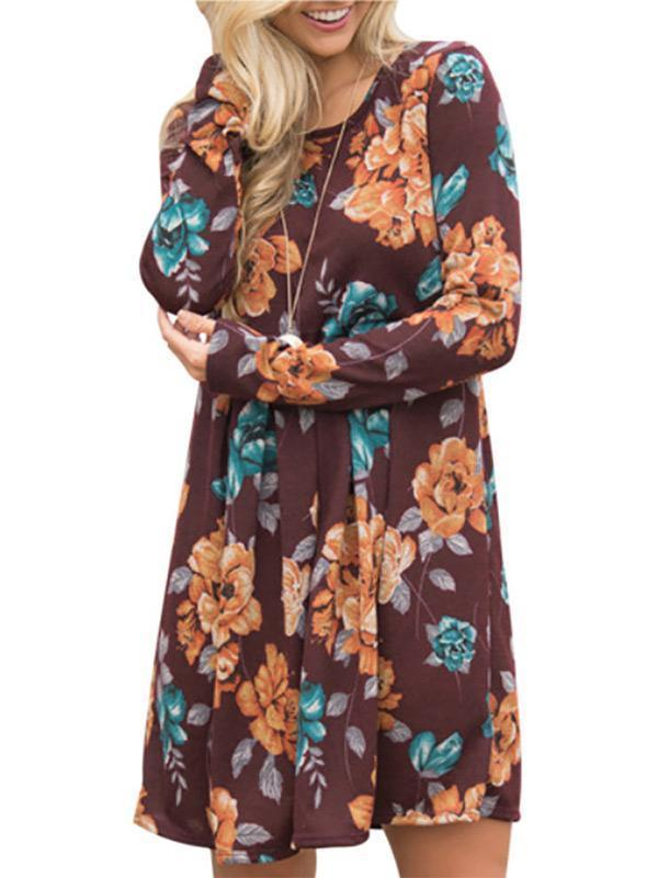 Floral printing drape-shaping  long-sleeve floral dress