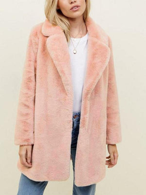 Lapel faux fur long coat