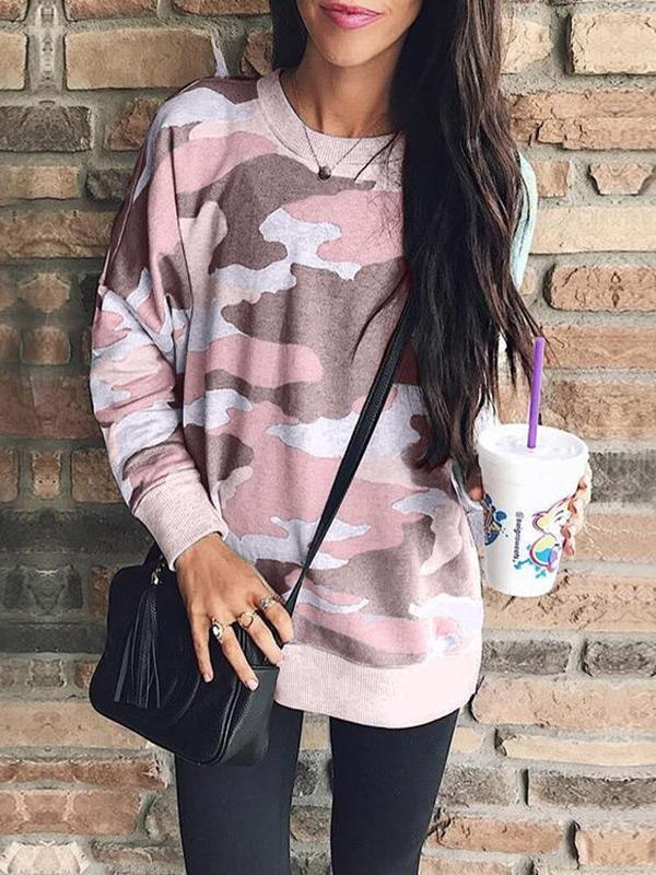 Leopard letter printing irregular slit V-neck long sleeve sweatshirt