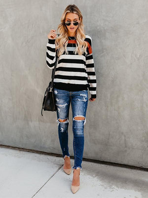 Round collar binary color stripes long sleeve T shirt