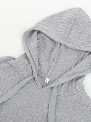 Hooded drawstring three-quarter sweater