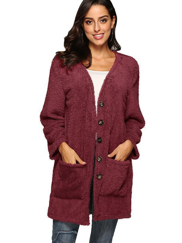 Single-breasted pocket fuzzy three-quarter coat