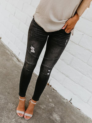 Ripped washable irregular splicing pencil denim pants