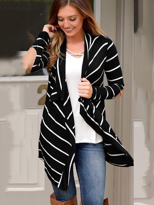Striped splicing irregular knitted coat