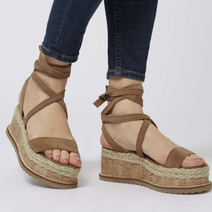 Leather Wedge Casual Lace Up Sandals