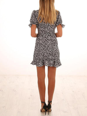 V-collar overlap front flouncing tie belt short sleeve polka dot Casual dress