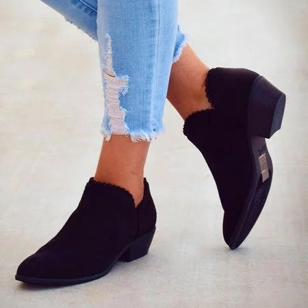Ruffle Ankle Boots Chunky Low Heel Boots