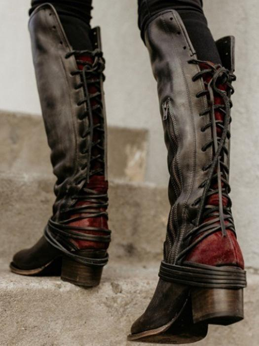 Lace Up Knee High Boots Vintage Cowhide Leather Side Buttons High Boots
