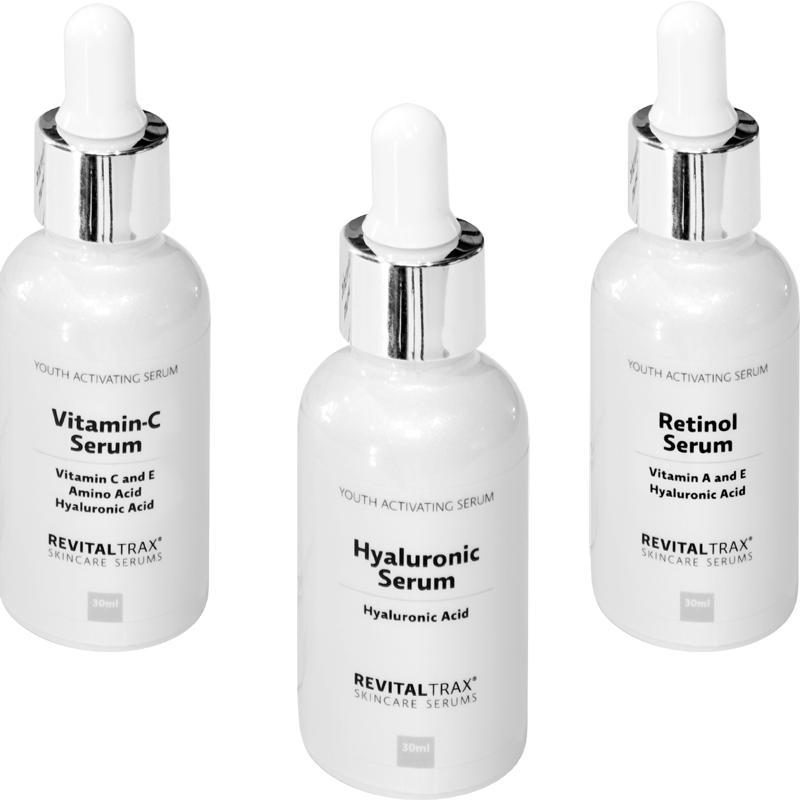 RevitalTrax Hyaluronic Serum, Vitamin-C Serum en Retinol Serum.