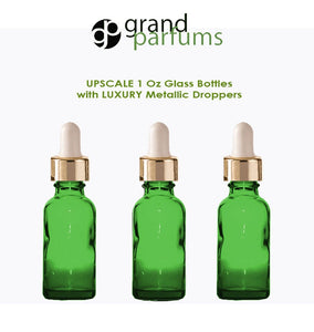 6 GREEN Upscale 30ml Glass Bottles w/ Metallic Gold & Black Dropper Pipette 1 Oz LUXURY Cosmetic Skincare Packaging, Serum Essential Oil