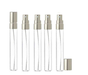 12 LUXURY Long Slim 10ml Clear Glass Perfume Atomizers, Fine Mist Sprayer, 1/3 Oz Cologne Blends, Samples, Exculsive Private Label Packaging