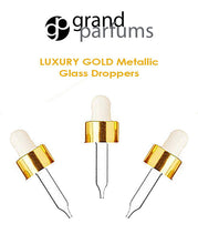 Load image into Gallery viewer, 6 UPSCALE Glass & Aluminum Metal Shell Dropper Caps SHINY or MATTE Gold/Silver 20-400 Private Label Cosmetic Pkg 30ml, 60ml (1 or 2 Oz Size)