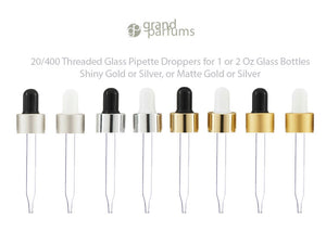 6 UPSCALE Glass & Aluminum Metal Shell Dropper Caps SHINY or MATTE Gold/Silver 20-400 Private Label Cosmetic Pkg 30ml, 60ml (1 or 2 Oz Size)