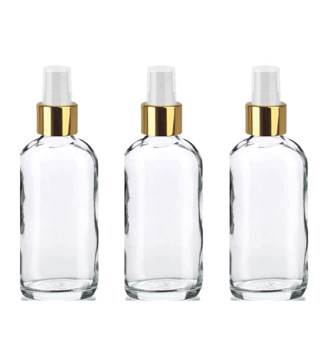 12 CLEAR 120ml Glass Bottles w/ Metallic Gold Fine Mist Atomizer 4Oz UPSCALE LUXURY Cosmetic Skincare Packaging, Fine Mist Spray