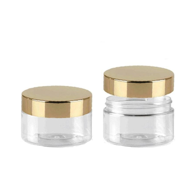 1 LUXURY 2 Oz Low Profile Clear 2 Oz PET Plastic Jars 60ml w/ Premium Shiny GOLD  Metal Overshell Caps