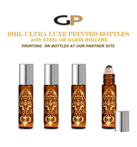 6 EXQUISITE 10ml Glass  Bottles Gold Foil Stamped Amber or Cobalt Blue w/ Gold or Silver LUXE Metal Caps Event Planners, Purse, Party, Gifts