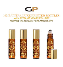 Load image into Gallery viewer, 6 EXQUISITE 10ml Glass  Bottles Gold Foil Stamped Amber or Cobalt Blue w/ Gold or Silver LUXE Metal Caps Event Planners, Purse, Party, Gifts
