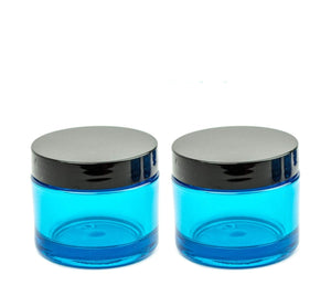 TURQUOISE, Teal Premium UPSCALE 50ml Thick Wall Plastic 1.7 Oz Beauty Cosmetic Cream Jars Body Butter DIY Sugar Scrub Face Mask Black Lids