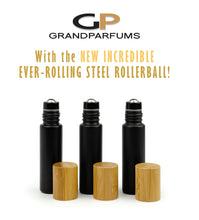 Load image into Gallery viewer, Matte Black Rollers 6Pcs No-Leak Steel Rollers! 10 ml MaTTE BLaCK Essential Oil Glass Bottles w/ Matte Silver or BAMBOO Caps, Essential Oil