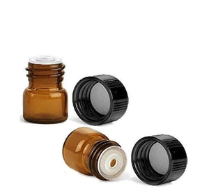 20 1/4 Dram Amber Glass Vials with Orifice Reducers and Black Caps, Micro-Mini Bottles 20 Sets, Perfect Essential Oil Sample Bottles