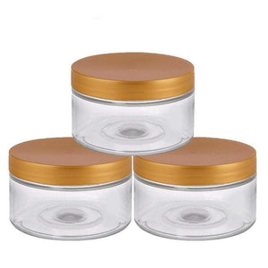 100 Units Clear Low Profile PET Plastic Empty Cosmetic Jars with Shiny Metallic SILVER LIDS & Spatulas