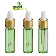 Load image into Gallery viewer, 6 -1 DRAM Green Glass Pipette Dropper Vials Gold Caps 3.7ml Serum Essential Oil, Aromatherapy Bottle w/ Funnel Medicine Bulb Dropper