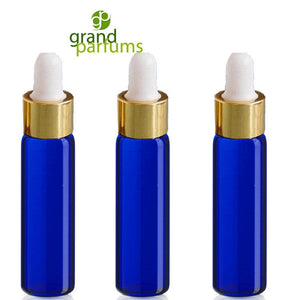 6 -1 DRAM Green Glass Pipette Dropper Vials Gold Caps 3.7ml Serum Essential Oil, Aromatherapy Bottle w/ Funnel Medicine Bulb Dropper
