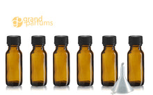 Load image into Gallery viewer, 12 PREMIUM 1/2 Oz AMBER Boston Round Essential Oil Empty Glass Bottles 15 ml (15g) with Leak-Proof Black Phenolic Caps Aromatherapy Bottles