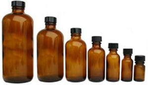 6 PREMIUM 60mL 2 Oz AMBER Boston Round Essential Oil Empty Glass Bottles (60g) with Leak-Proof Black Phenolic Caps Oil Storage Bottles