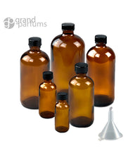 Load image into Gallery viewer, 6 PREMIUM 60mL 2 Oz AMBER Boston Round Essential Oil Empty Glass Bottles (60g) with Leak-Proof Black Phenolic Caps Oil Storage Bottles