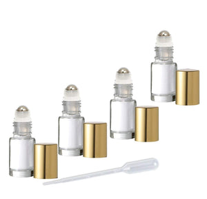12 MINI Clear 5ml Rollerball Bottles Stainless Steel 5 mL DELUXE Dram w/ Gold or Silver Metallic Caps 1/6 Oz Roll-Ons Essential Oil Perfume